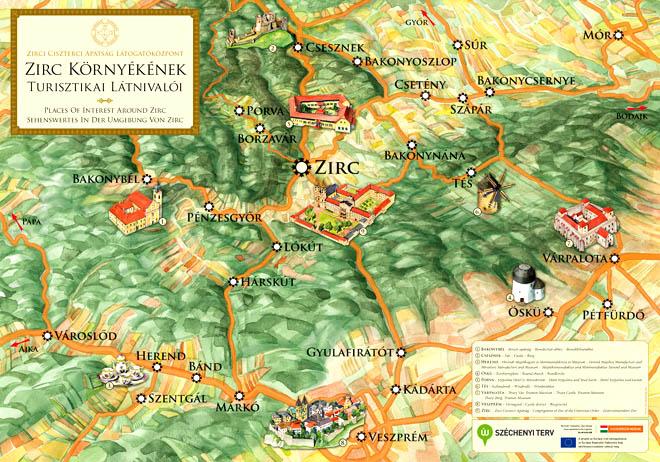 zirc térkép Zirc tájékoztató látványtérkép tábla zirc térkép